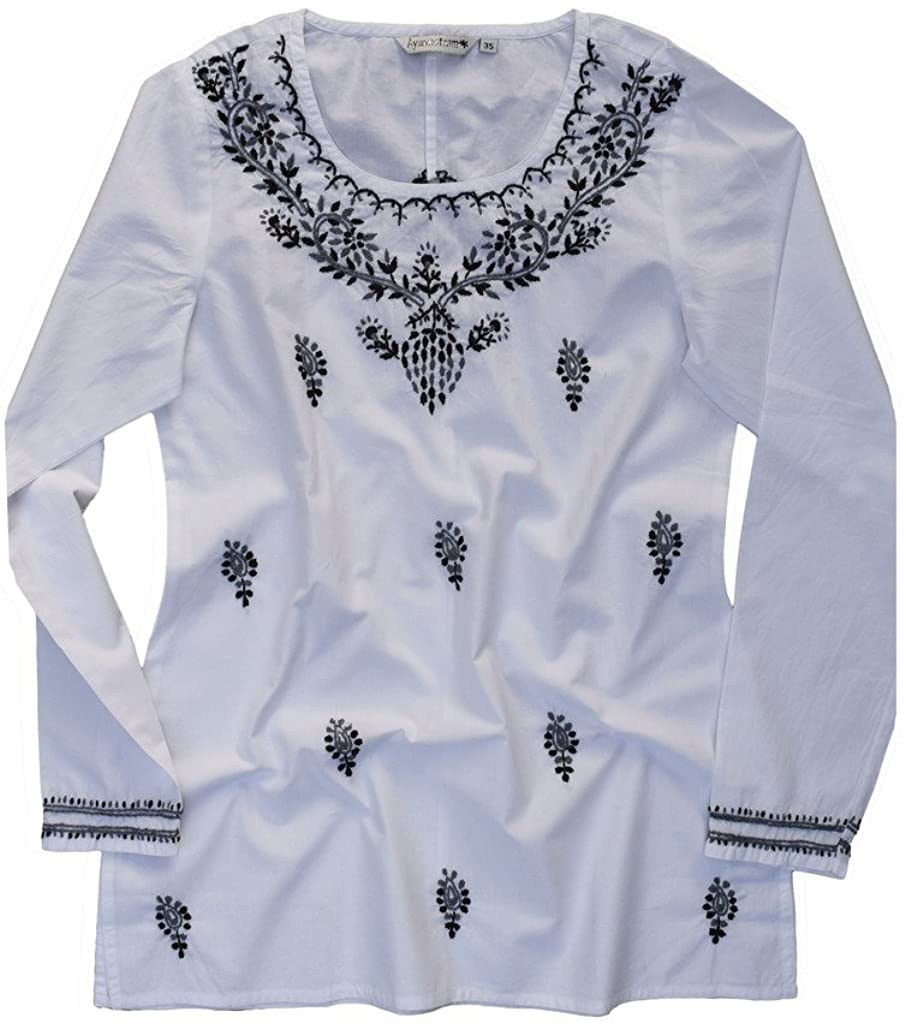 Cotton Tunic Top Kurti Blouse; Hand Embroidered