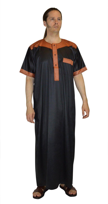 Men Saudi Style Thobe Daffah Dishdasha Islamic Arabian Kaftan Black Medium 56 Inches Long