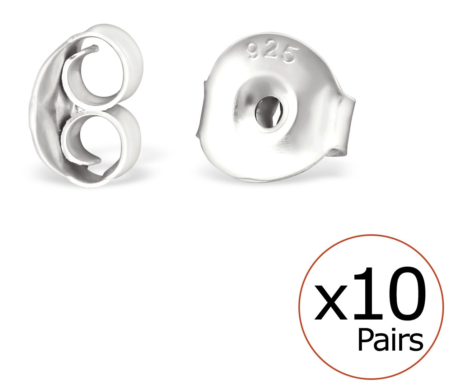 Best Wing Jewelry ''.925 Sterling Silver Safety Butterfly Back Post'' for Ear Stud Earrings (10 Pairs / Pack (Large (Silver-Tone))