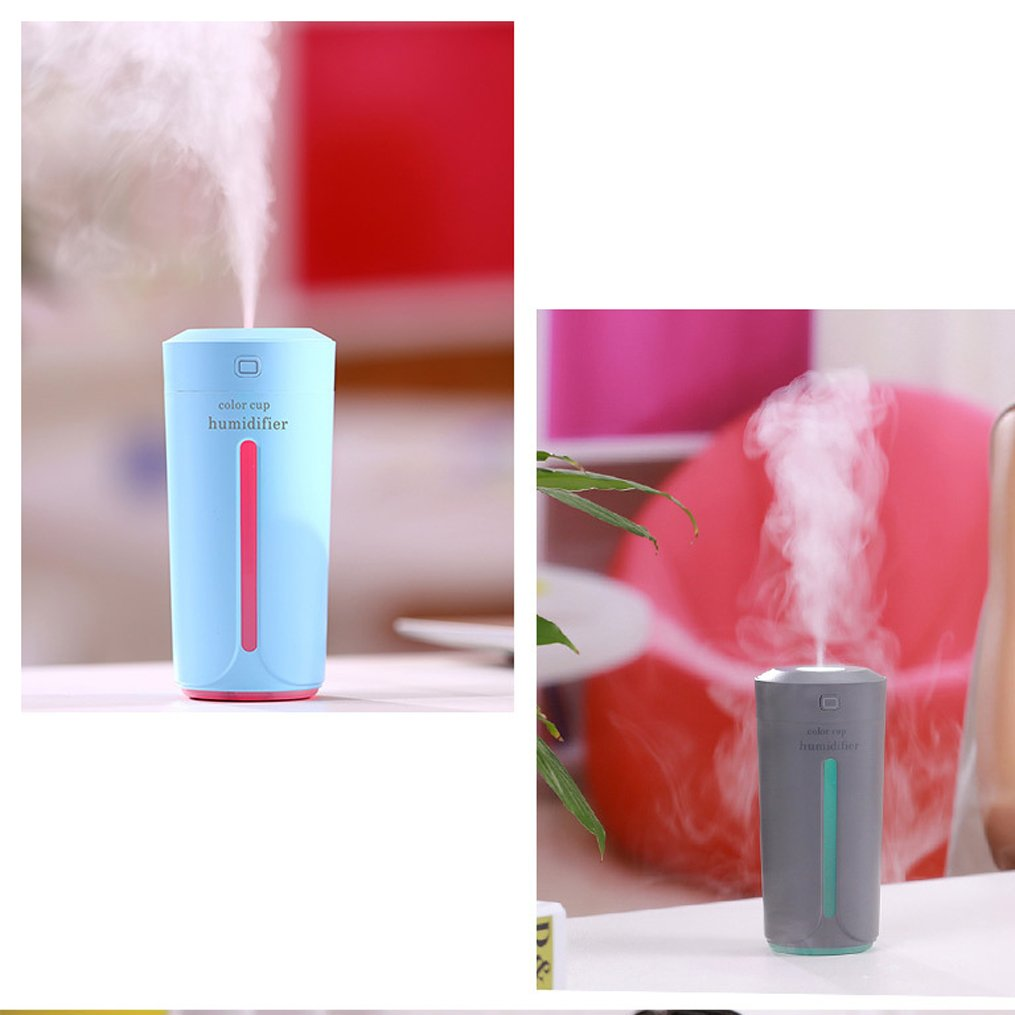 Ultrasonic USB Humidifiers, ANDECO Portable Travel Car Humidifier with Adjustable Mist, Colorful Light, for Office Desk Home Babies Kids Bedroom and Car, 230ML Mini Cup Humidifiers With (Blue)