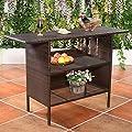 Giantex Outdoor Rattan Wicker Bar Counter Table Shelves Garden Patio Furniture Brown