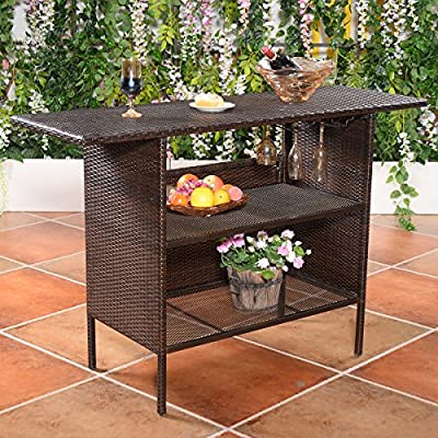 Giantex Outdoor Rattan Wicker Bar Counter Table Shelves Garden Patio Furniture Brown