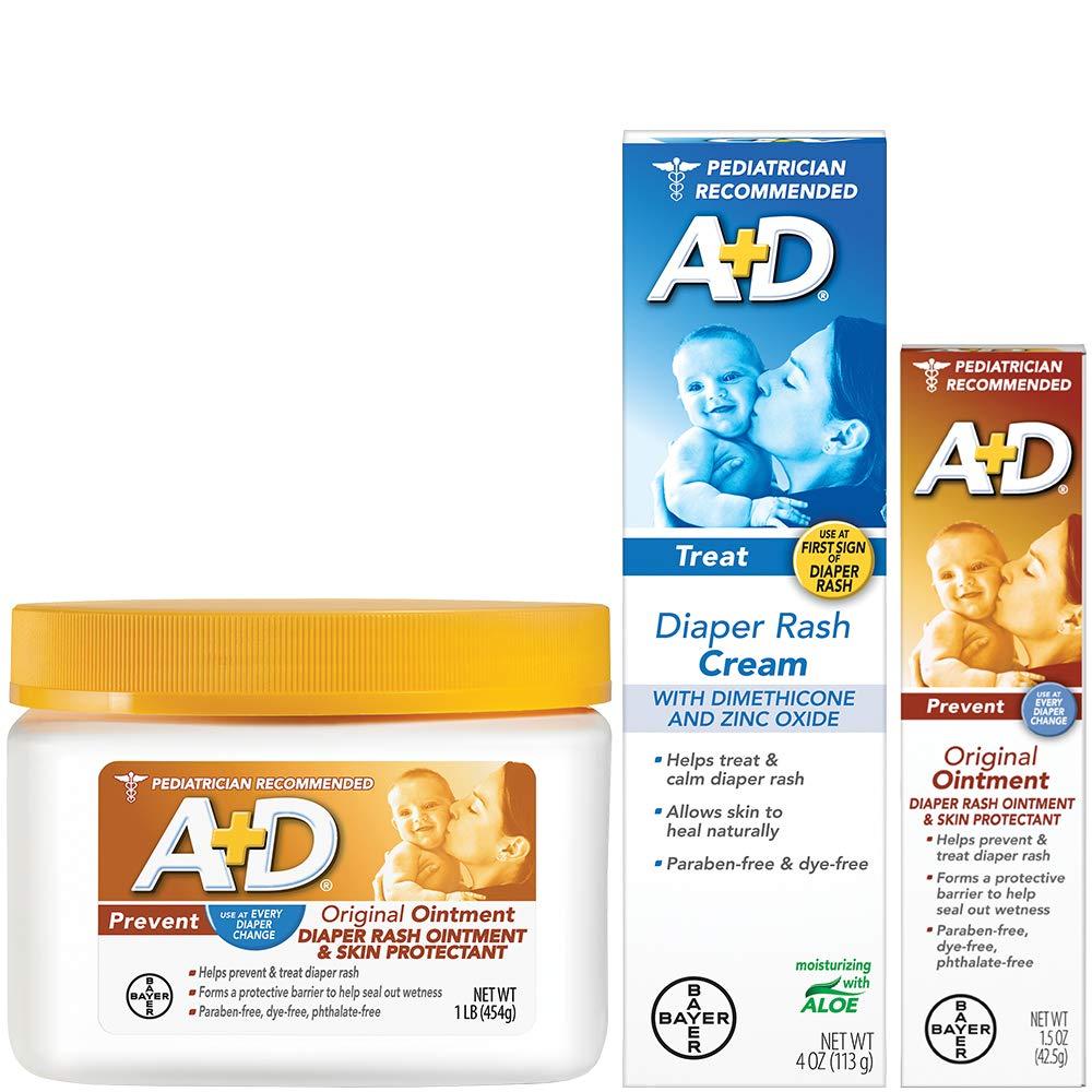 A+D Original Diaper Rash Ointment, Baby Skin Protectant With Zinc Oxide Diaper Rash Treatment Cream, Dimenthicone 1%, Zinc Oxide 10% and Original Diaper Rash Ointment, Skin Protectant by A&D