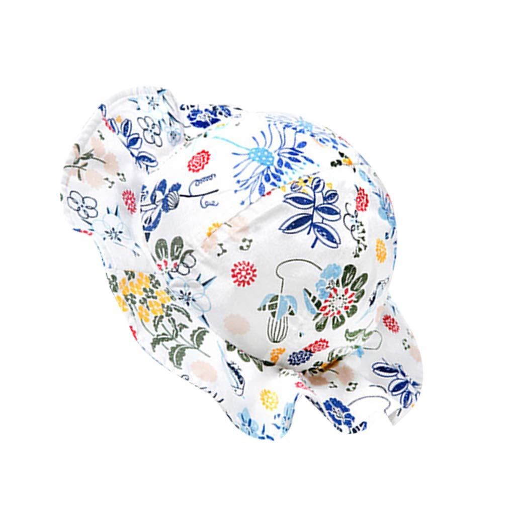 Riverlily Flowers Pattern Basin Cap Summer Princess Baby Child Hat Fisherman Hat Toddlers Ruffled Sunhat