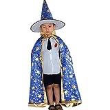Kinder Halloween Kostüm,Hunpta Zauberer Hexe Umhang Kap Robe und Hut für Jungen Mädchen (Blau)