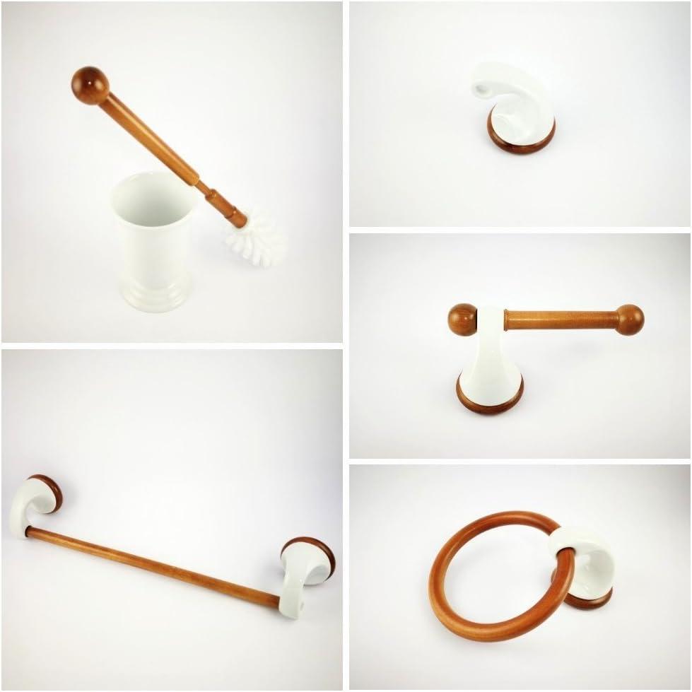 Abc_baño Juego Accesorios de baño para Pared de Porcelana Blanca y Madera Modelo Lux