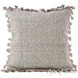 Eyes of India - 16'' Brown Gray Grey Pillow Cotton Sofa Tassels Cushion Cover Couch Throw Bohemian Indian Colorful Boho DecorativeCover Only