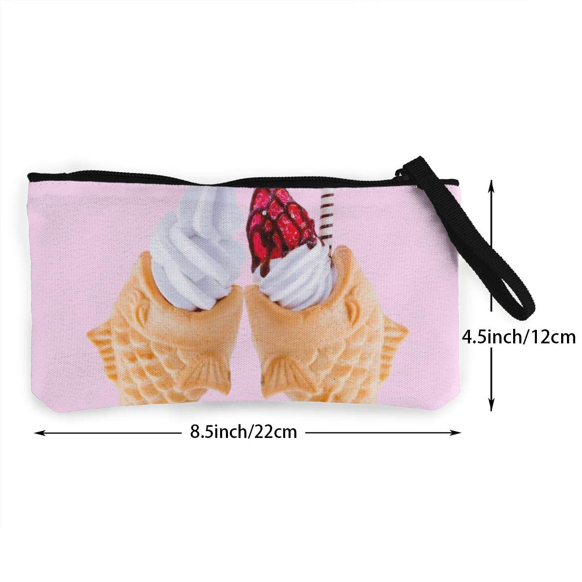 Maple Memories Valentines Day Ice Cream Portable Canvas Coin Purse Change Purse Pouch Mini Wallet Gifts For Women Girls