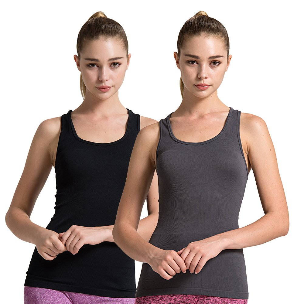 2pack Grey Black Semath Tank Top for Women, Running Workout Clothes Athletic Yoga Racerback 16 Pack
