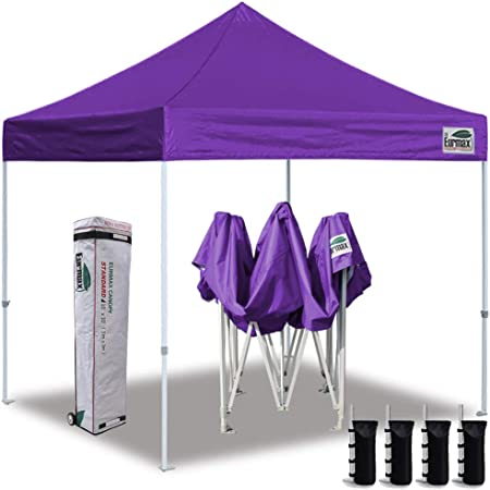 Amazon Com Eurmax 10 X10 Ez Pop Up Canopy Tent Commercial Instant Canopies With Heavy Duty Roller Bag Bonus 4 Sand Weights Bags Purple Garden Outdoor