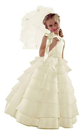 16ee3a2dc ST244 Flower Girl Wedding Layers Sleeveless Dress Baby to Teen (2T, Ivory)