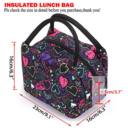 Sumnacon Insulated Lunch Bag, Reusable Portable Leakproof Lunch Box Tote Cooler Bag for Men Women Girls Kids for Work,School,Picnic(Heart Pattern) by Sumnacon (Image #1)