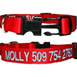Personalized Dog Collars, Custom Embroidered with Pet Name & Number. Available in Soft Leather w/ Rounded Edges for Comfort Fit or Woven Nylon w/ Snap Closure Buckle. Great Alternative to Pet ID Tags.