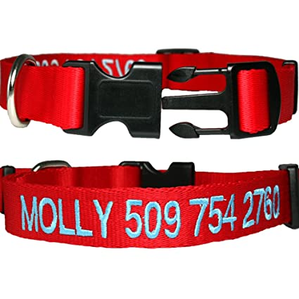 monogrammed dog collars. Personalized Nylon Dog Collar, Custom Embroidered With Pet Name \u0026 Phone Number. 4 Adjustable Monogrammed Collars