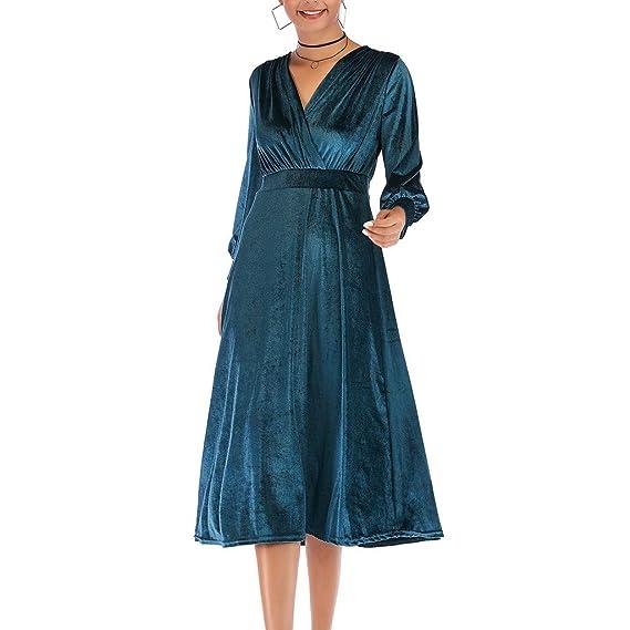 8b5194c99624 LianMengMVP Vestiti Donna Eleganti Le Signore delle Donne Elegante Morbide  Velluto Artificiale Midi Dress 3 4 Manica Lunga V-Collo Partito Abiti da  Sera  ...