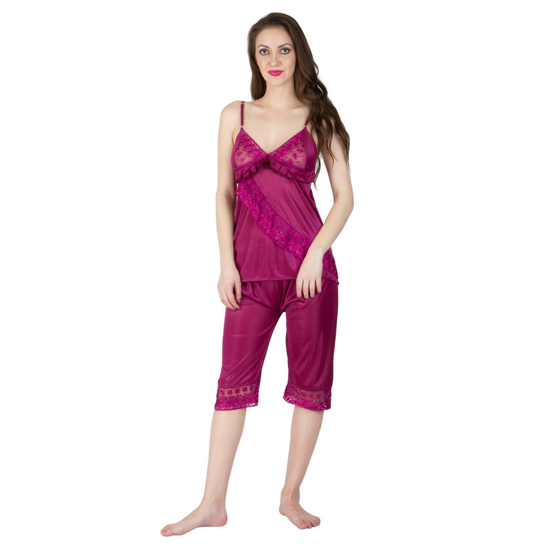 Bombshell Women s Satin Nightwear Set of 6 Pcs Nighty 1f54913f6