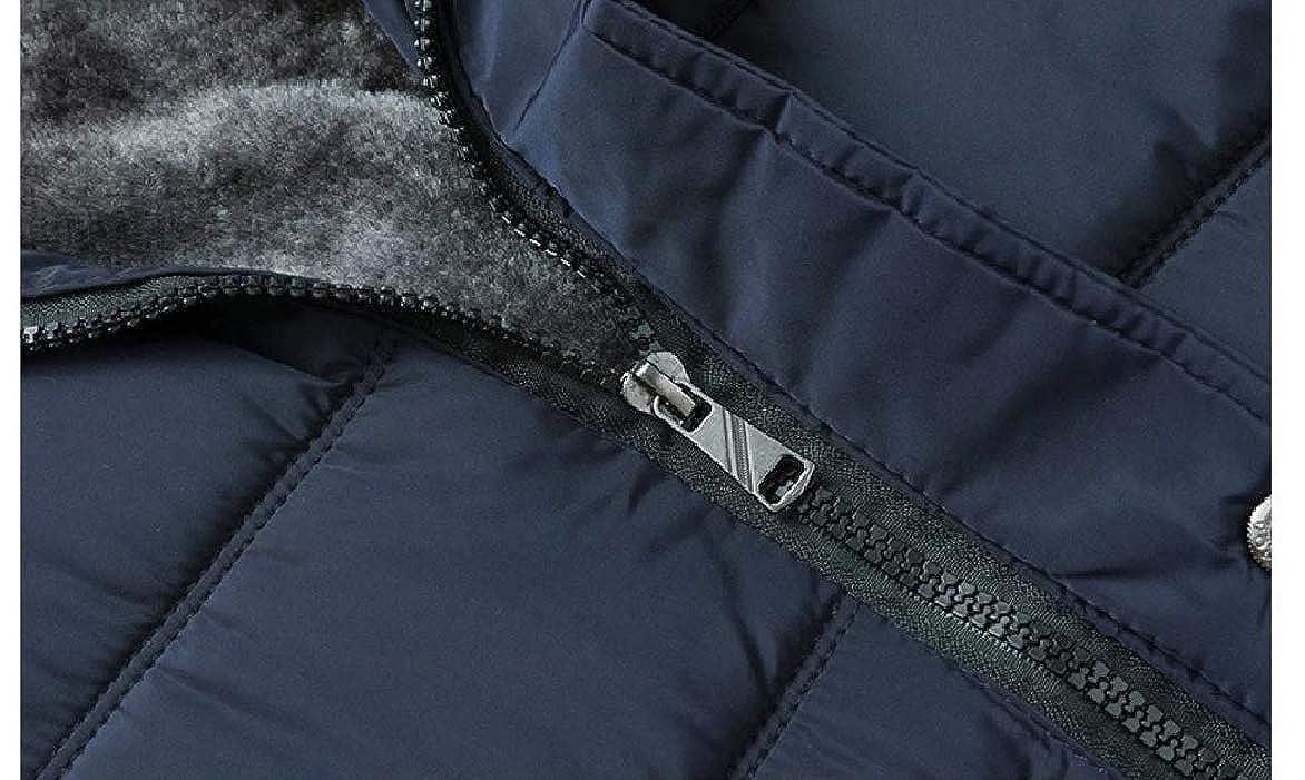 Abetteric Mens Hooded Mid Length Pocketed Cotton Plus Velvet Down Puffer