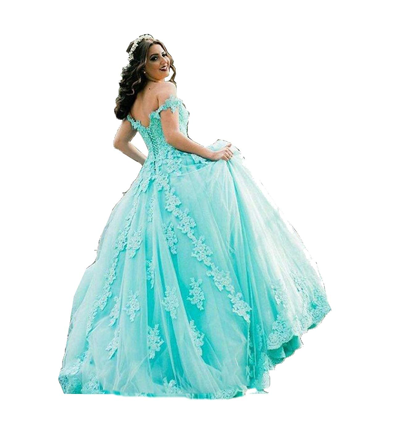 bluee MariRobe Women's Lace Applique Quinceanera Dress Off The Shoulder Prom Dress Backless Wedding Dress Sweet 16 Dress Prom Gown