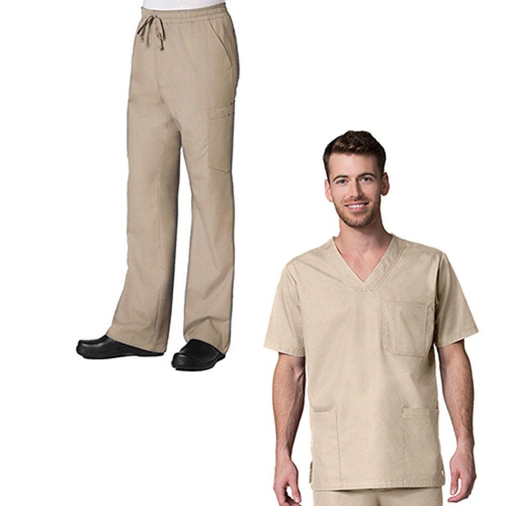 Red Panda Mens 3 Pocket V-Neck Top /& Full Elastic 10-Pocket Cargo Pant Scrub Set