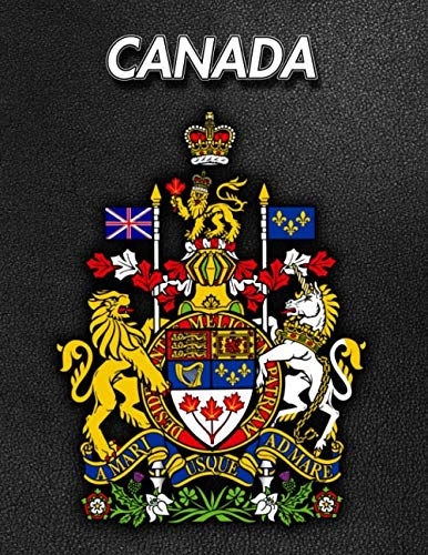 - Canada: Coat of Arms | Composition Book 150 pages 8.5 x 11 in. | Wide Ruled | Writing Notebook | Lined Paper | Soft Cover | Plain Journal