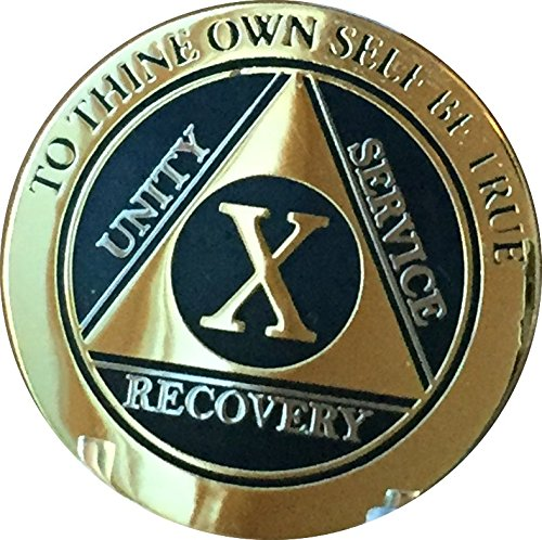 Recoverychip 10 Year AA Medallion Elegant Black Gold Silver Bi-Plated Alcoholics Anonymous Chip