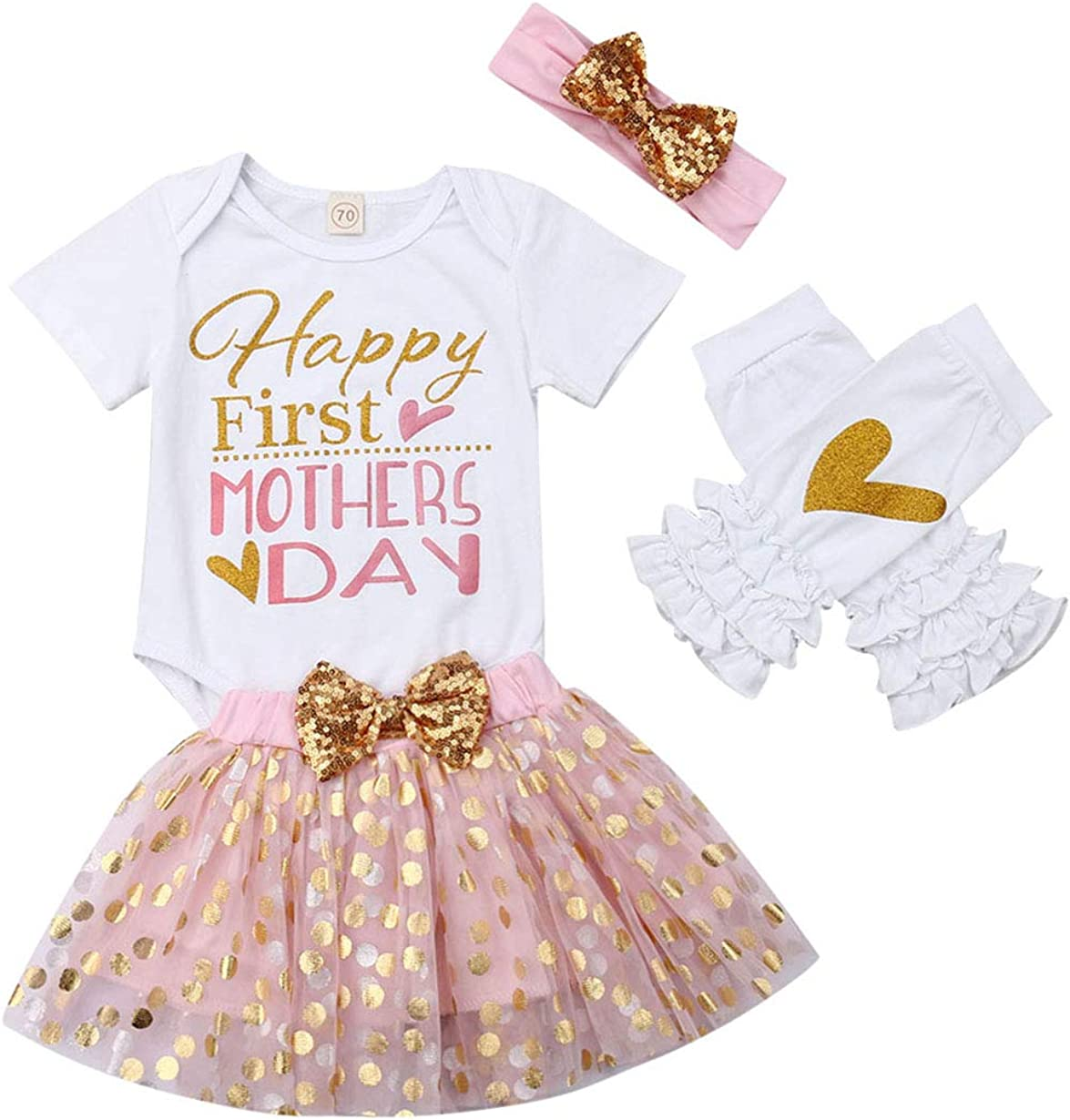 Dot Bubble Skirt Headbands Legging 4Pcs Sets FeMereina Newborn Infant Baby Girl Clothes Happy First Mothers Day Pattern Romper