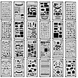 24 Pieces Journal Planner Drawing Templates Stencils Ruler Set for Bullet Journal, Scrapbook, Crafts Projects, Making Card, Leuchtturm A5 Notebooks, Calendar, Painting, 4x7 Inch
