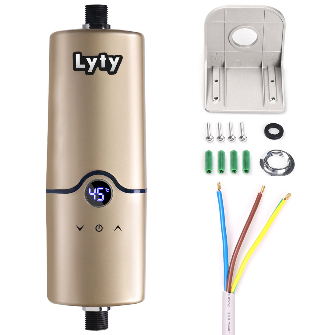 Instant Electric Tankless Water Heater 240V 4 Power Levels (3.5KW 4.5KW 5KW 5.5KW) Mini Hot Water Heater for Kitchen Bathroom