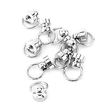 9mm Leder Nieten Rundnieten Kopfring Button Stud Nieten mit Schraubverschluss 10 St/ück Silber und Gold Handwerk aus Messing Metall Nieten f/ür DIY Leder
