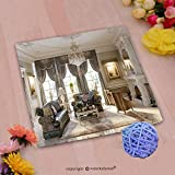 VROSELV Custom Cotton Microfiber Ultra Soft Hand Towel-luxurious baroque living room in large classic style house with large marble fireplace marble Custom pattern of household products(20''x20'')