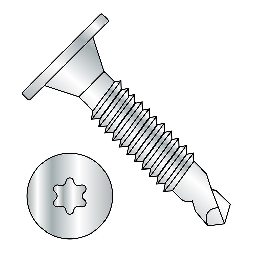 #3 Drill Point Steel Self-Drilling Screw Pack of 50 Star Drive Zinc Plated Finish Wafer Head #10-24 Thread Size 1-1//2 Length