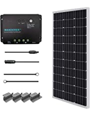 RENOGY® Solar Panel Starter Kit 100W Monocrystalline: One 100W Mono Solar Panel UL 1703 Listed+One 30Amp PWM Charge Controller+One pair of 20Ft MC4 Solar Adaptor Kit with Male and Female Connector+ One Set of Uniquely Designed Z Bracket Mounts