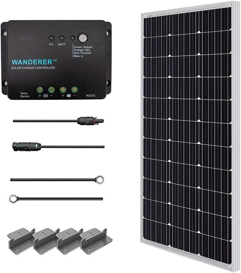 RENOGY 12 voltios 100 vatios Kits solares: 100W módulo de panel solar fotovoltaico PV + cable solar + 30A controlador solar + Z Soportes