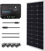 side facing renogy 100 watt 12 volt monocrystalline solar starter kit