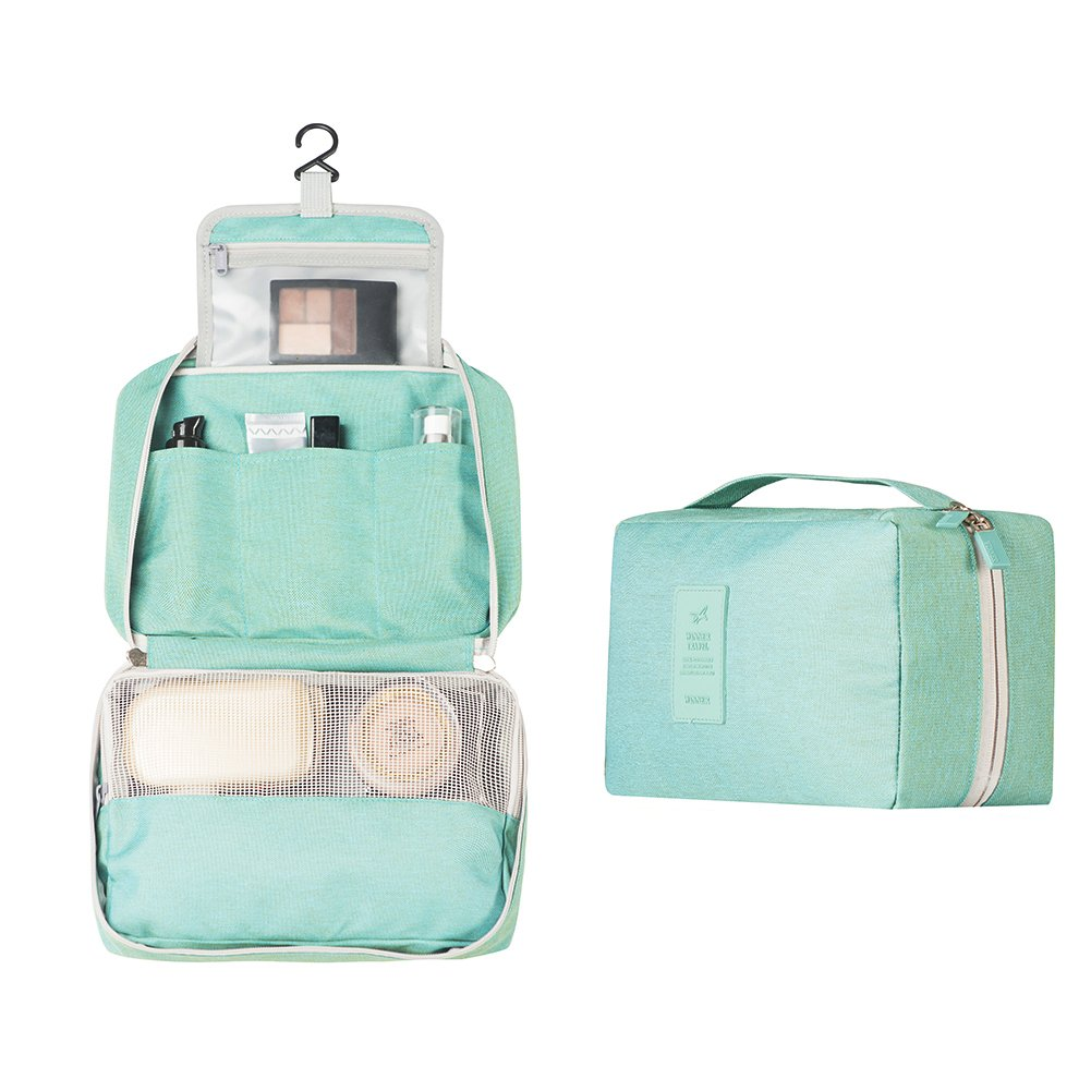 Zoevan Toiletry Cosmetic Bag Portable Makeup Pouch Waterproof Travel Organizer (Green)