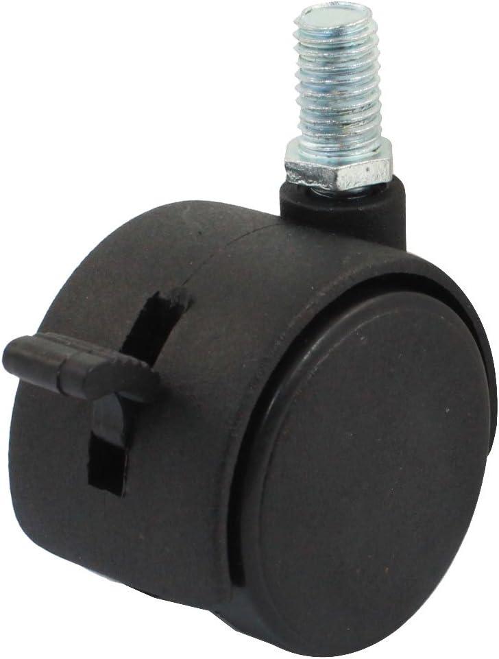 Aexit Conector de v/ástago de rosca de 10 mm 1.5 Rueda doble Freno de ruedas giratorias Negro para muebles de sillas de oficina 6900ba1b61d18d291bdf3df511e13aea