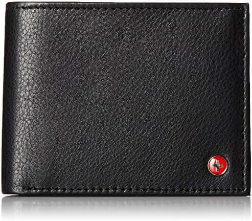 RFID SAFE Alpine Swiss Men's Deluxe Wallet Genuine Leather 14 Pocket ID Bifold