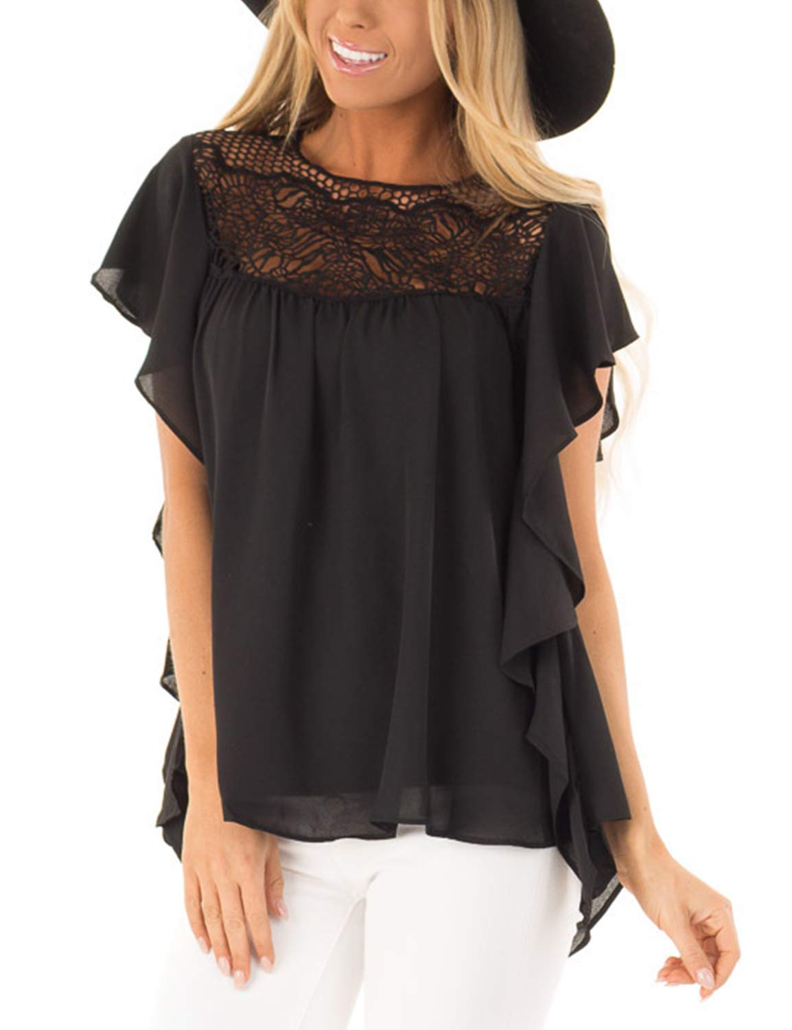 BMJL Women's Round Neck Short Sleeve T Shirt Lace Blouse Sexy Hollow Out Ruffle Top Black