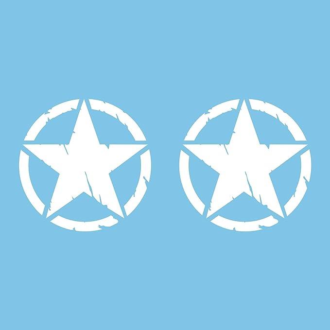 Autodomy 4x4 Off Road Army Stern Militär Zerstört Military Star Us Army Aufkleber Verschiedene Größen 10 Cm 15 Cm 20 Cm Paket 2 Stück Für Auto Weiß 10 Cm Auto