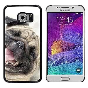 TopCaseStore / la caja del caucho duro de la cubierta de protección de la piel - Pug Happy Dog Pet Canine Smiling - Samsung Galaxy S6 EDGE SM-G925