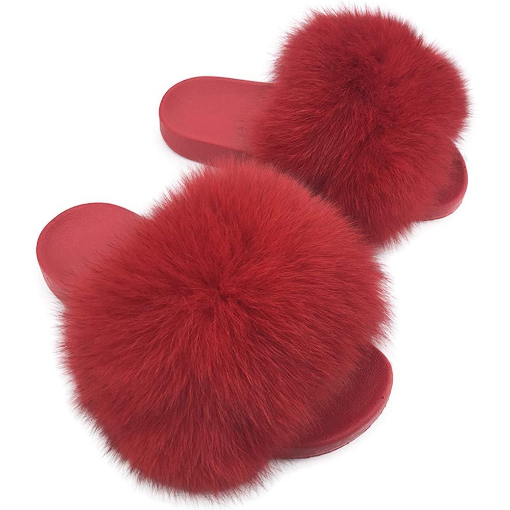 23acb5e10ae34 Yu He Women Real Raccoon Fur Feather Vegan Leather Open Toe Single Strap  Slip On Sandals