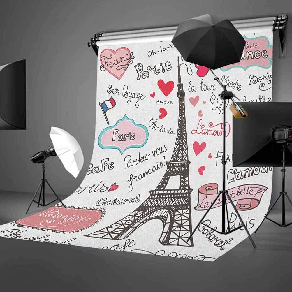 7x10 FT Doodle Vinyl Photography Background Backdrops,Flower Silhouettes Background with Abstract Daisies Cute Romantic Design Background for Graduation Prom Dance Decor Photo Booth Studio Prop Banner