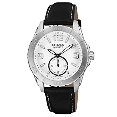 Citizen AO3010-05A Men s White Dial Black Leather Strap Quartz Watch