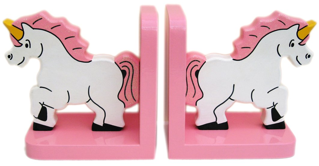 Pink Unicorn Wooden Bookends - Hand made in UK In a Roundabout Way 1300