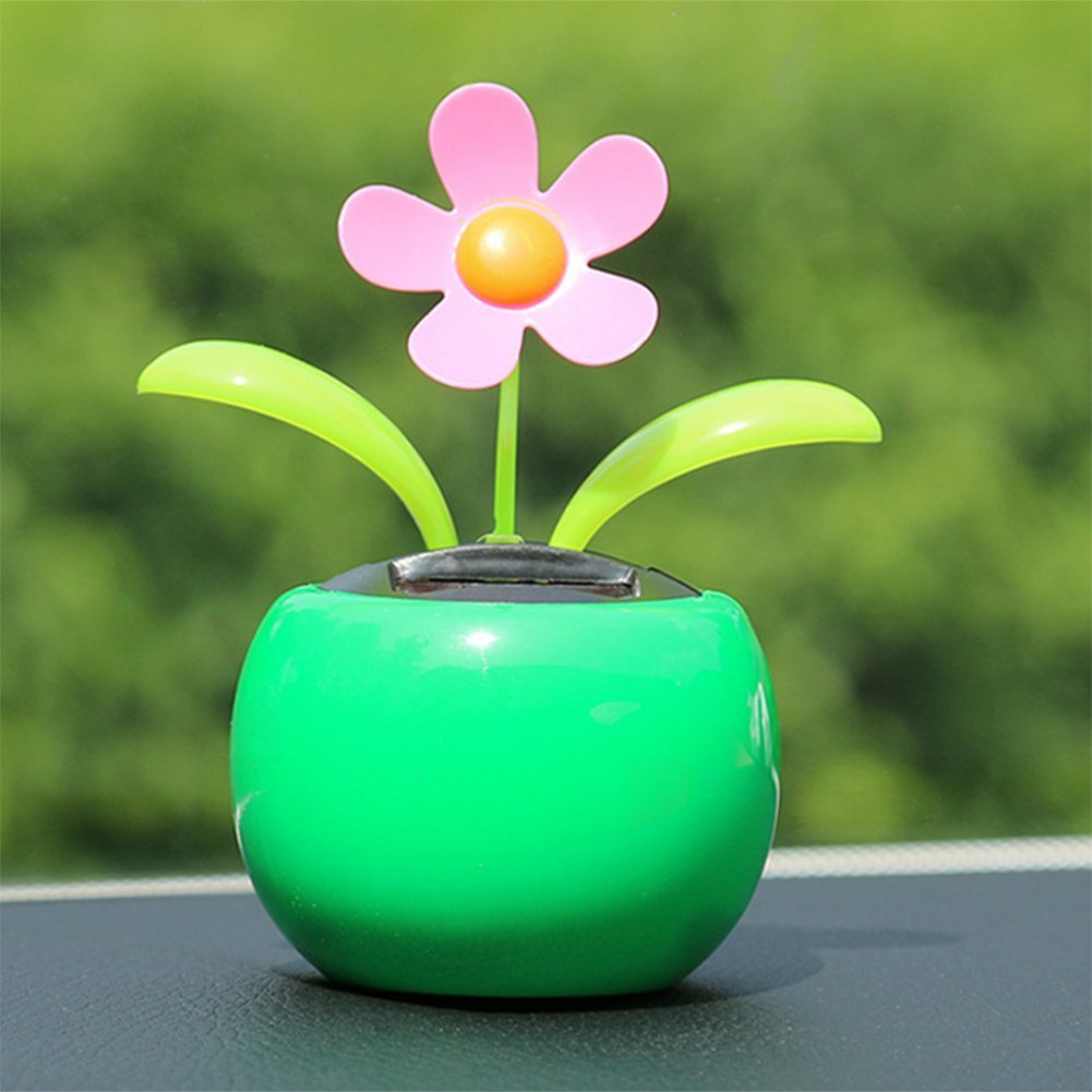 Wonque Solar Swing Dancing Flower Desk Car Toy Ornament Cute Flip Flap Swing Solar Flower 1PCS Blue