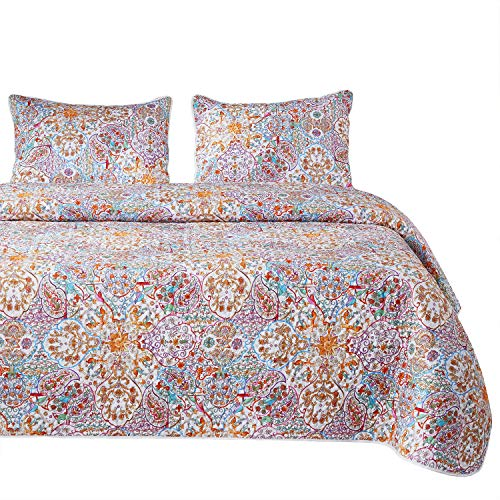 Wake In Cloud - Bohemian Quilt Set, Boho Chic Mandala Moroccan Pattern Printed, 100% Cotton Fabric with Soft Microfiber Inner Fill Bedspread Coverlet Bedding (3pcs, Queen Size) (Bed Moroccan Sets)