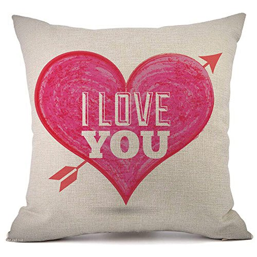 iYBUIA Valentine's Day Fashion Throw Pillow Cases Cafe Sofa Cushion Cover Home Decor
