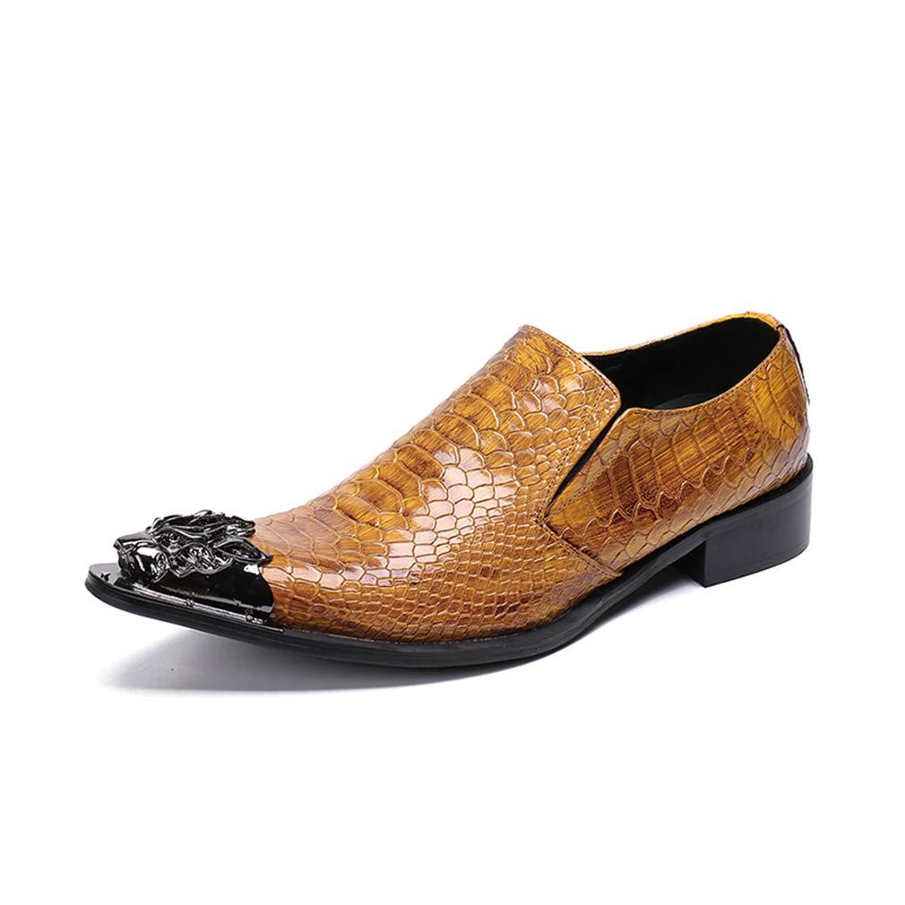 Hy Herrenschuhe, Herbst-Winter-Businessschuhe, Leder Hochzeitsschuhe, Spitze Persönlichkeit Hairstylist Schuhe (Farbe   Gelb, Größe   43)