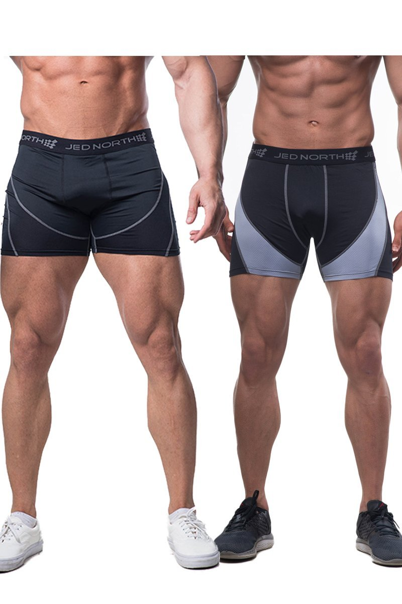 Jed North Men's 2-Pack Bodybuilding Workout Compression Shorts TightsUnderwear Tank025P