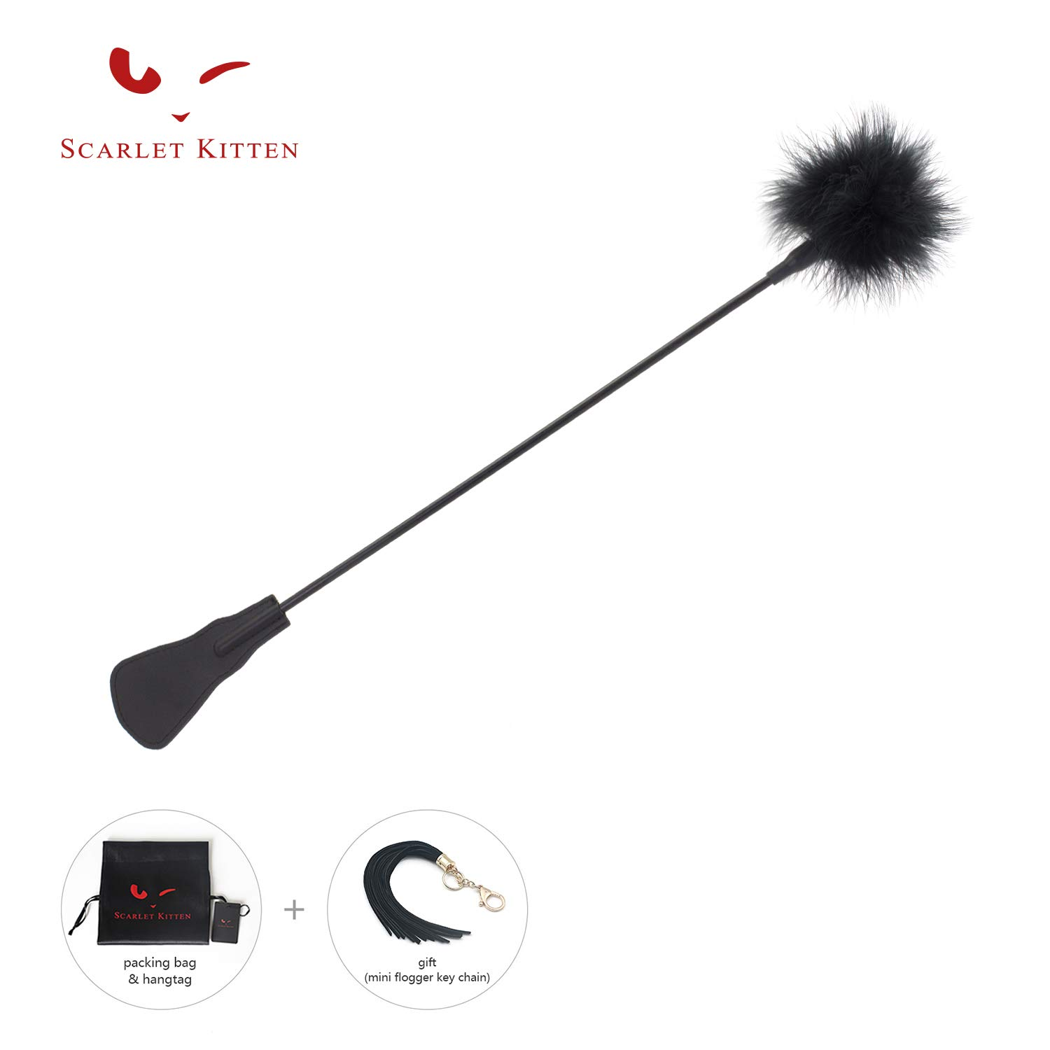 SCARLET KITTEN 21.65'' Black Ostrich Feather Tickler and Flirting Leather Riding Crop Whip by SCARLET KITTEN